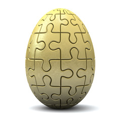 Golden puzzle Easter egg, 3d