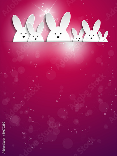 Happy Easter Rabbit Bunny on Purple Background