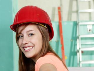 Female apprentice at work