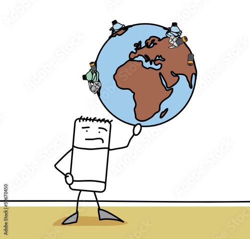 Personnage qui tient un gloge pollué par des déchets