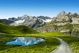 Amazing view of touristic trail near the Matterhorn in the Alps