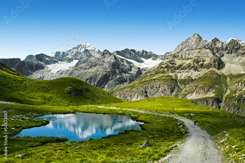 Foto op Canvas Alpen Amazing view of touristic trail near the Matterhorn in the Alps