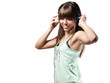 pretty young woman is listening to music - isolated
