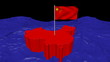 China map with fluttering flag in abstract ocean animation
