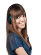 pretty young woman with headset - isolated
