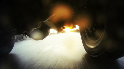 Off-road automobile in motion. Moscow, Mcad. GoPro shot.