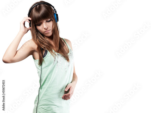 pretty young woman with headset eyes down left - isolated