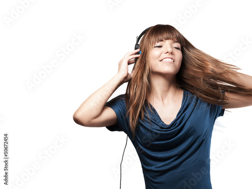 pretty young woman with headset and hedaset - isolated