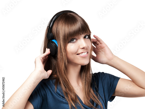 young woman and a headset - isolated
