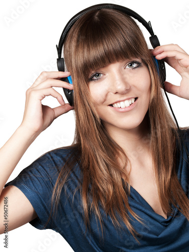 young woman with headset - isolated