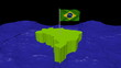 Brazil map with fluttering flag in abstract ocean animation