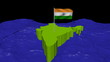 India map with fluttering flag in abstract ocean animation
