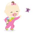 Baby girl holding flowers