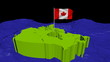 Canada map with fluttering flag in abstract ocean animation
