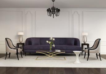 Contemporary elegant contemporary living room, velvet sofa