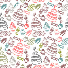 Sweet food hand drawn seamless pattern