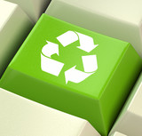 Green Computer Key Showing Recycling And Eco Friendliness poster