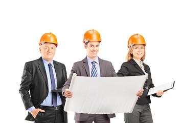 Team of successful engineers with helmets