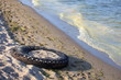 Tire on a beach