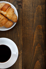 coffee and croissants with copy space