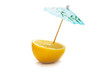 Lemon and umbrella isolated on the white