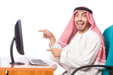 Arab businessman working on computer