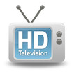 "Cartoon-style TV Icon with ""HD TV"" wording on screen"