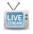 """Cartoon-style TV Icon with """"Live Stream"""" wording on screen"""