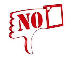 """Жест. Большой палец руки вниз с надписью """"NO"""""""