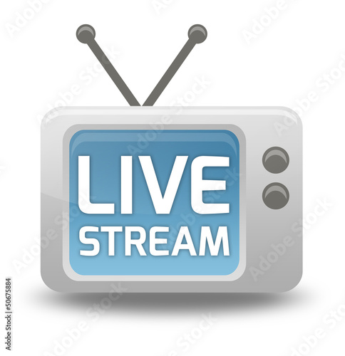 "Cartoon-style TV Icon with ""Live Stream"" wording on screen"