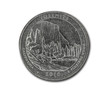 United States Yosemite quarter dollar coin on white