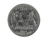 United States Wisconsin quarter dollar coin on white