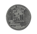 United States New Mexico quarter dollar coin on white