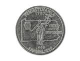 United States Pennsylvania quarter dollar coin on white