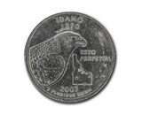 United States Idaho quarter dollar coin on white