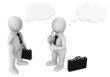 3d business people with chat and idea bubbles