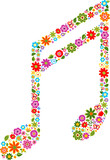 musical note with flowers pattern