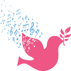 flying dove with peace musical note sign