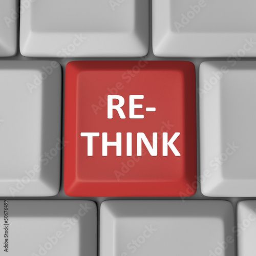 Re-Think Red Computer Keyboard Key Rethink Reconsider