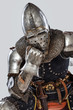 Bored knight lean on his fist