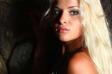 Close-up portrait of beautiful blond woman