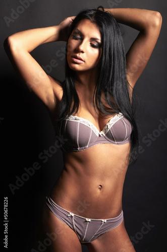 Beautiful brunette sexy woman in underwear