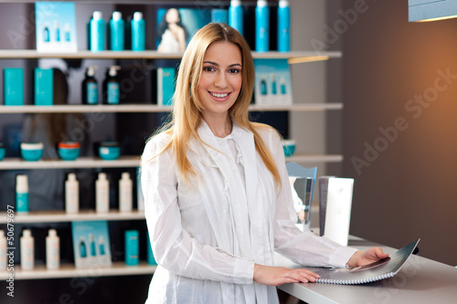 woman in reception desk