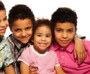 Close-up portrait of black family