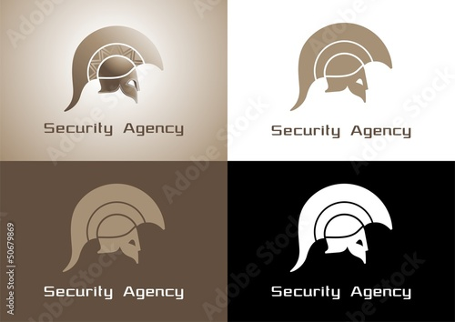 Security Agency Logo. The helmet of an Ancient Greek warrior
