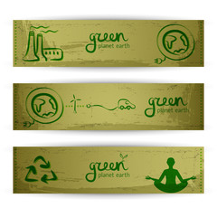Nature abstract eco banners set