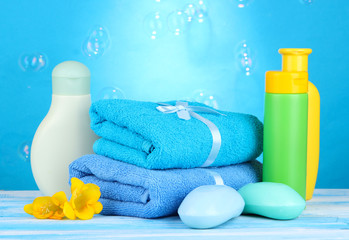 Baby cosmetics, towels and soap