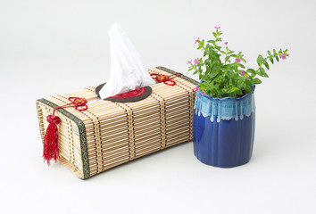 A beautiful handmade bamboo tissue paper box