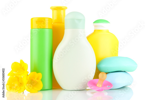 Baby cosmetics and soap, isolated on white