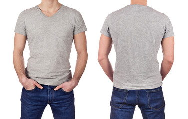 Front and back view of young man wearing blank gray t-shirt